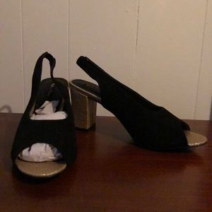 Black and Gold Slingback Shoes